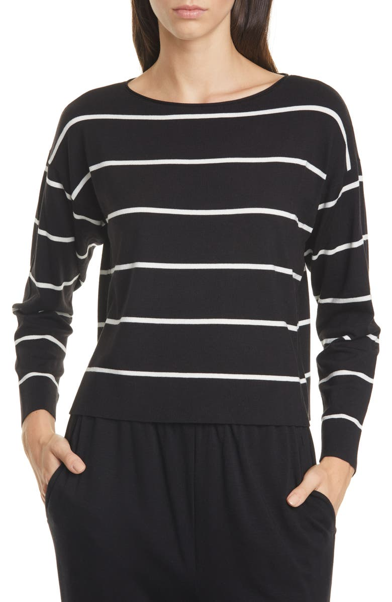EILEEN FISHER Stripe Boxy Top, Main, color, BLACK/ SOFT WHITE