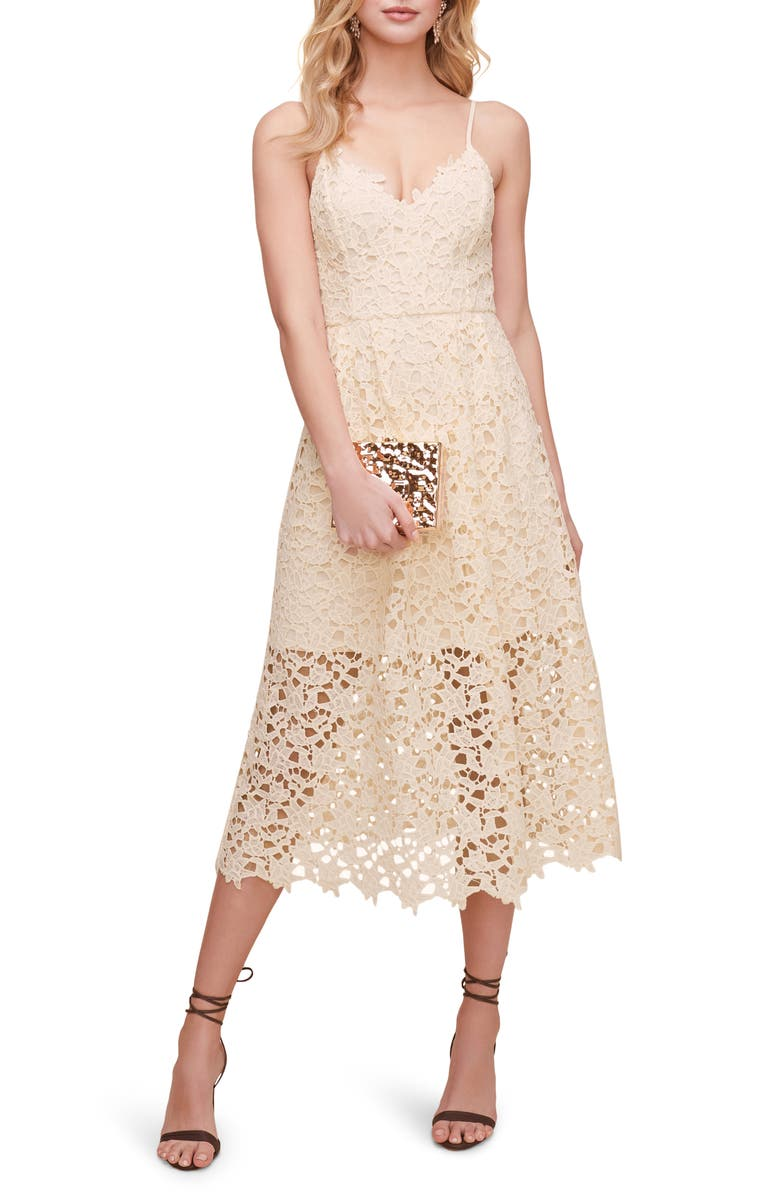 ASTR THE LABEL Lace Midi Dress, Main, color, BUTTERCREAM