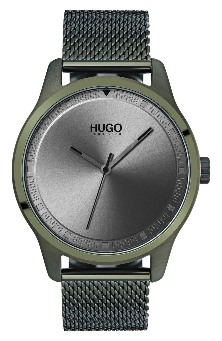 HUGO Move Mesh Strap Watch, 42mm, Main, color, 300