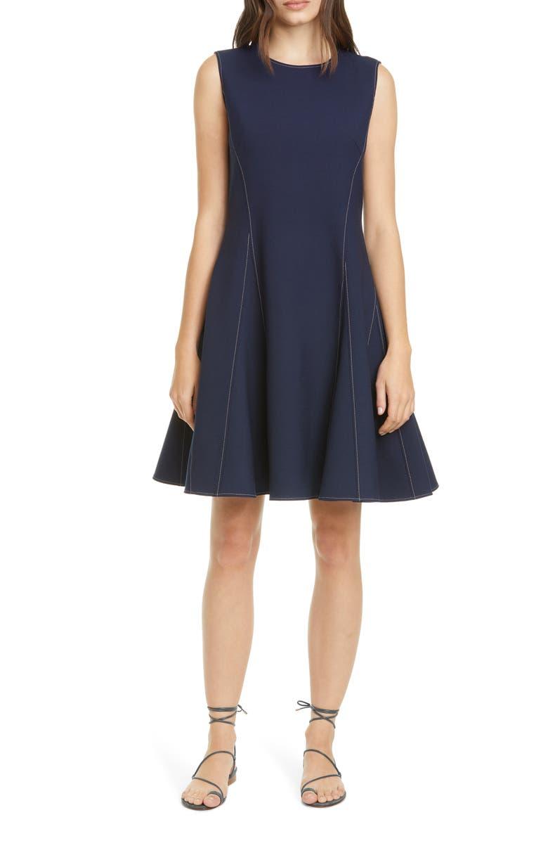 ADEAM Water Drop Contrast Stitch Crepe Fit & Flare Dress, Main, color, 400