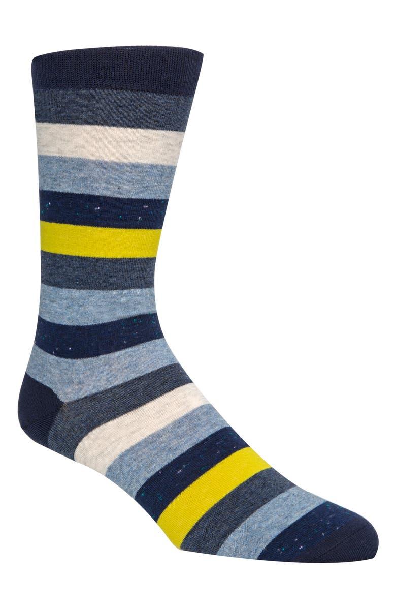 COLE HAAN Stripe Socks, Main, color, MARINE BLUE
