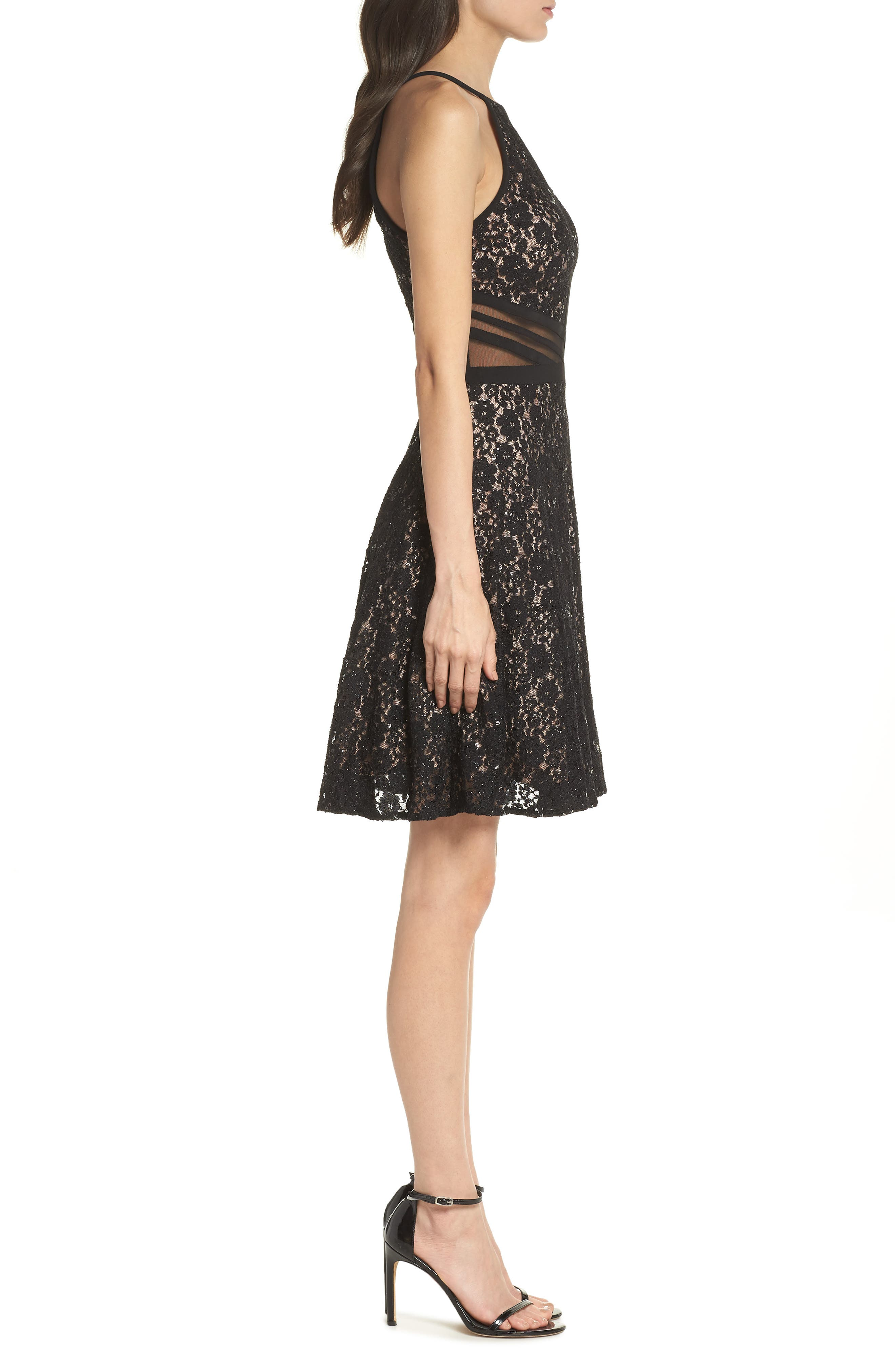 ,                             Sheer Inset Lace Fit & Flare Dress,                             Alternate thumbnail 4, color,                             BLACK/ NUDE
