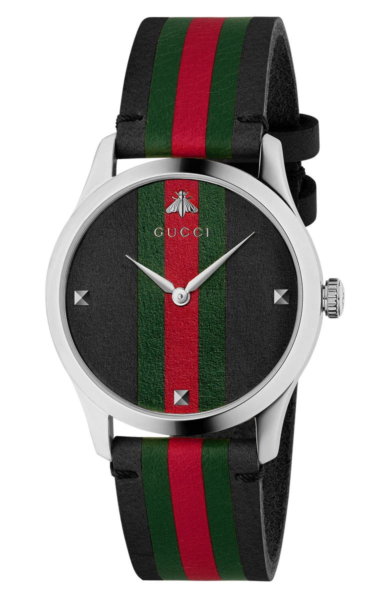 GUCCI G-Timeless Leather Strap Watch, 38mm, Main, color, BLACK/ GREEN/ SILVER