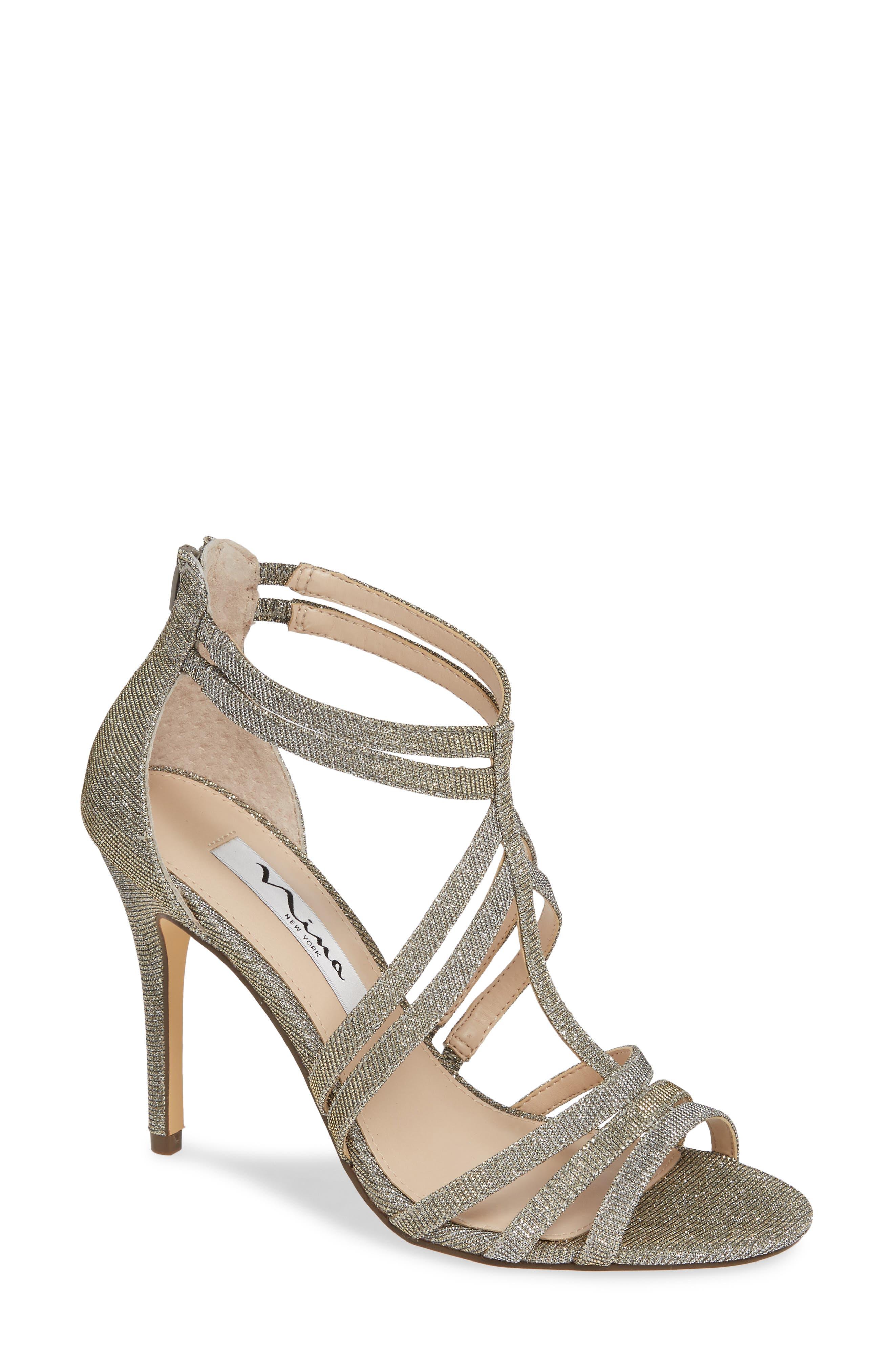 ,                             Carlie Ankle Strap Sandal,                             Main thumbnail 1, color,                             STEEL GLITTER FABRIC