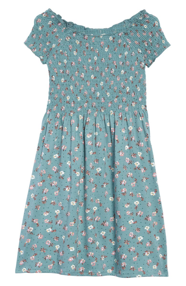 BILLABONG Off Beach Off the Shoulder Smocked Dress, Main, color, 320
