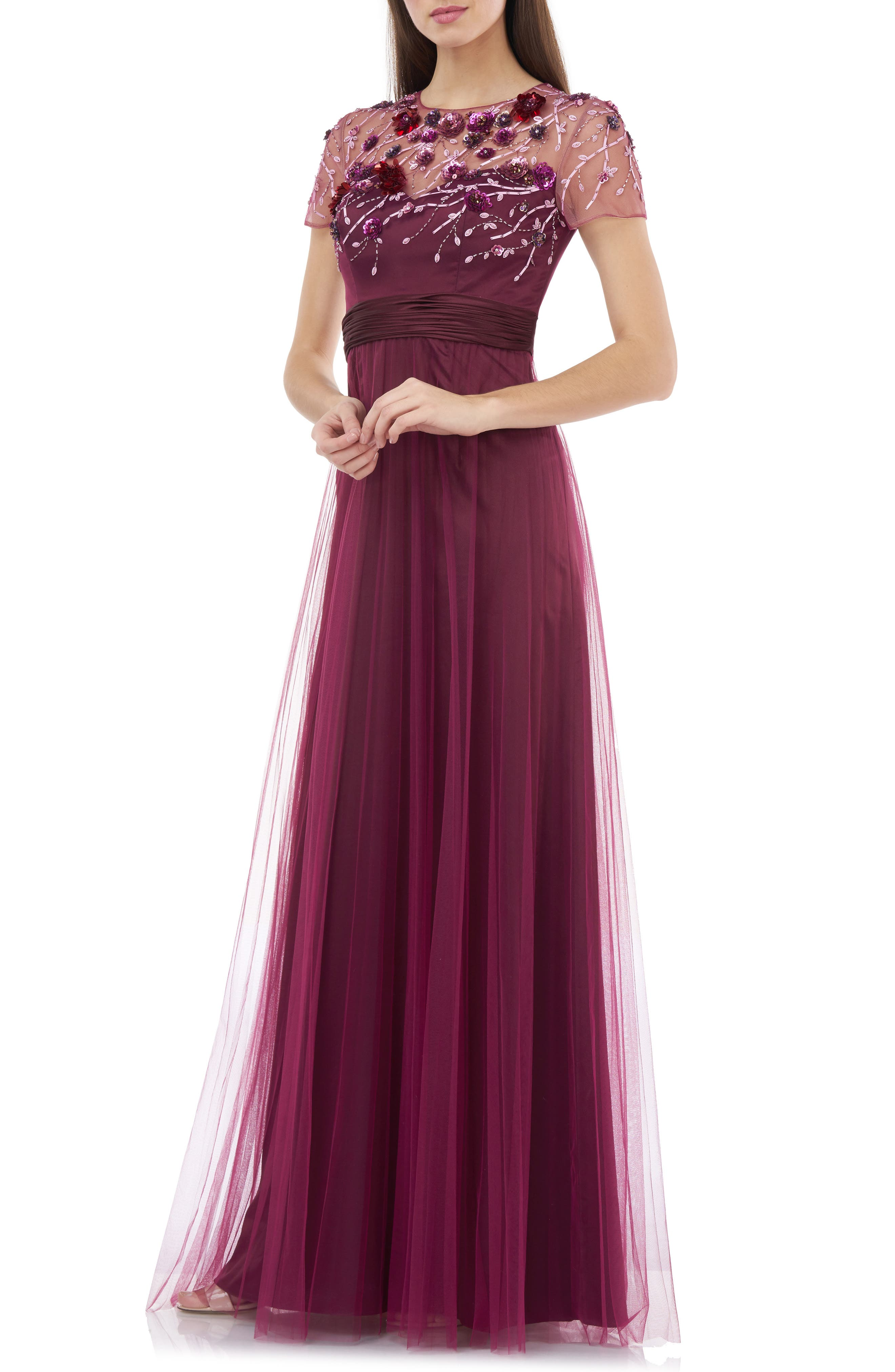 Edwardian Evening Gowns | Victorian Evening Dresses Womens Js Collections Floral 3D Embellished Bodice Gown $178.80 AT vintagedancer.com