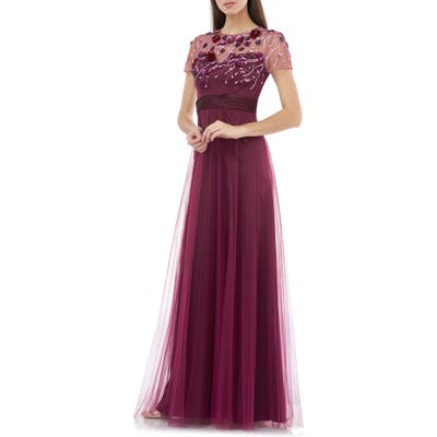 Js Collections Floral 3D Embellished Bodice Gown, Burgundy