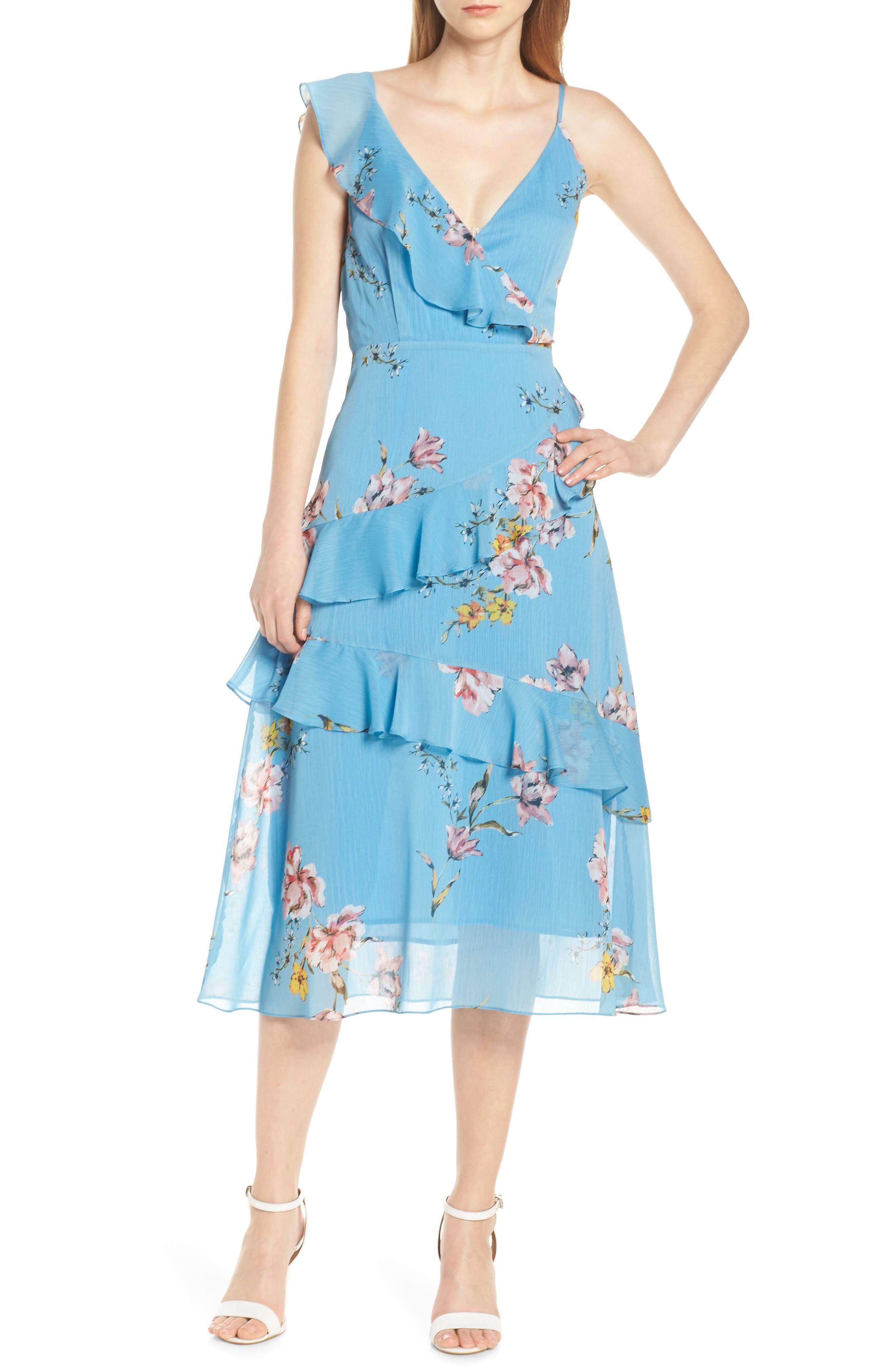 Avec Les Filles Painterly Boutique Ruffle Georgette Dress, Blue