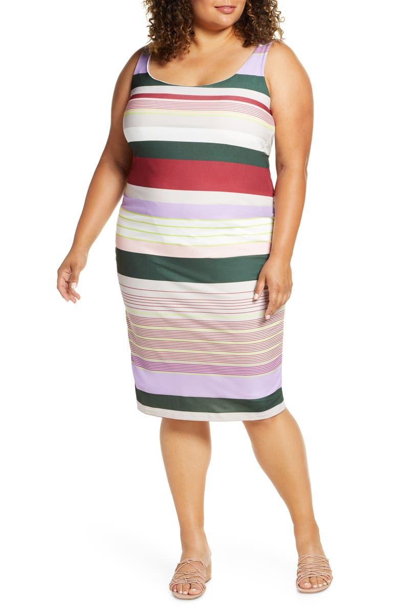 ELOQUII Tank Column Dress, Main, color, STRIPED AWAY
