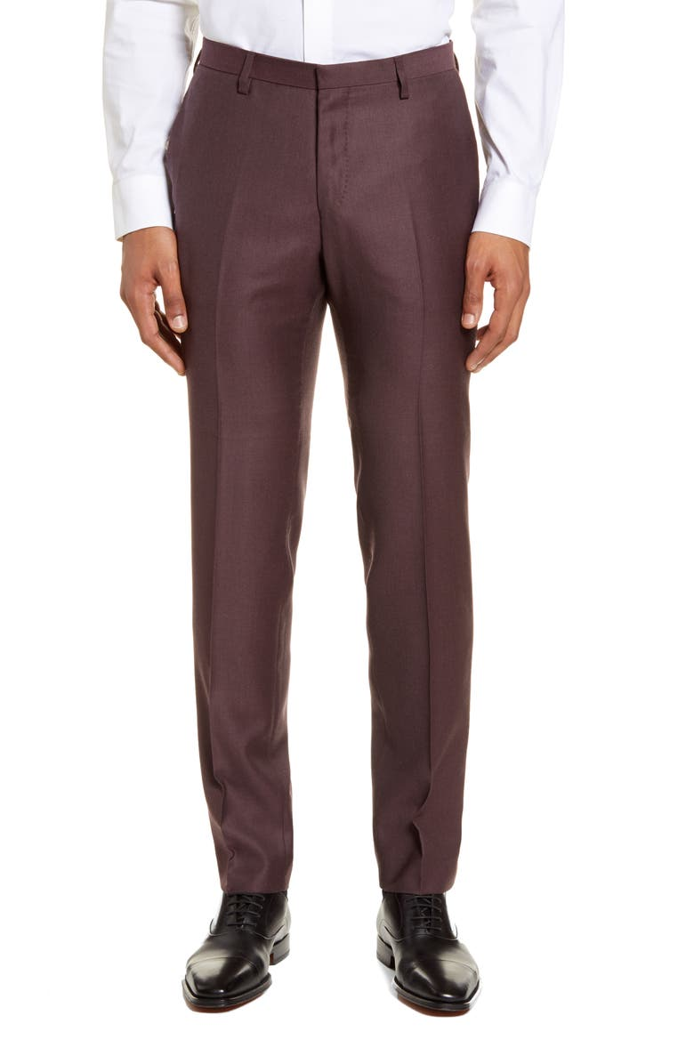TIGER OF SWEDEN Todd Flat Front Solid Wool Dress Pants, Main, color, REGAL RED