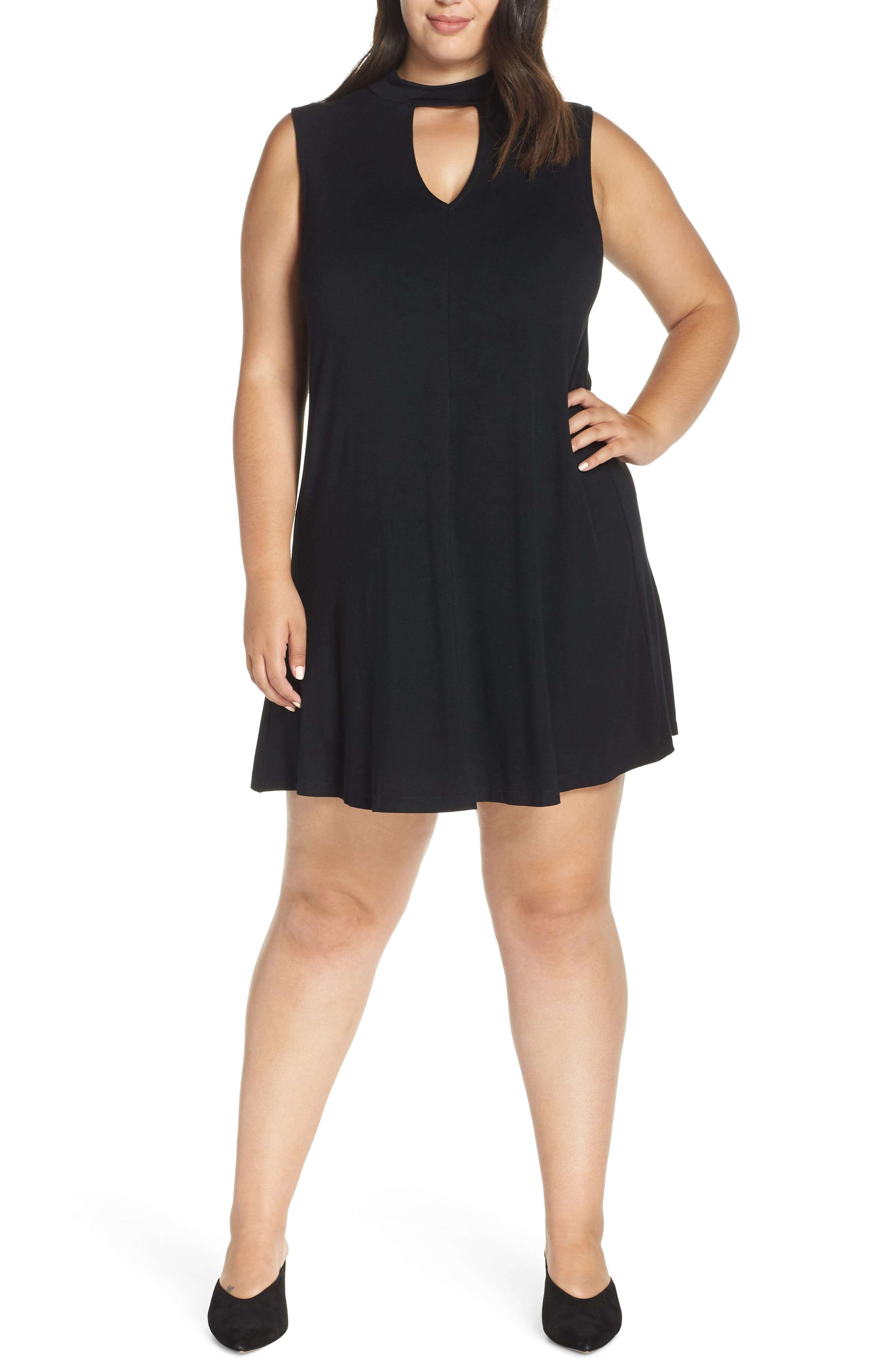 Plus Size Lemon Tart Esperanza Neck Keyhole Skater Dress, Black