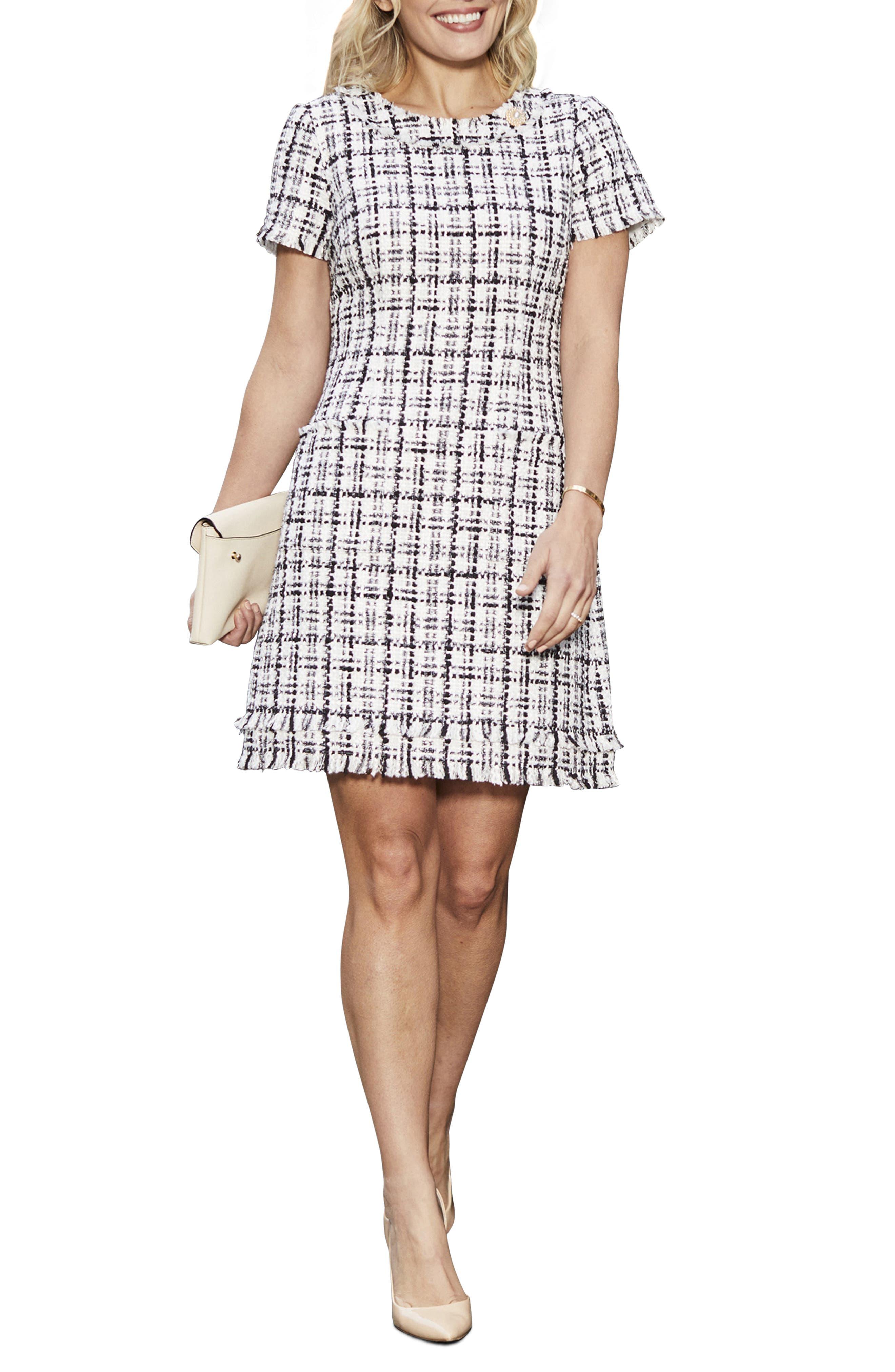 Cap Sleeve Tweed Shift Dress