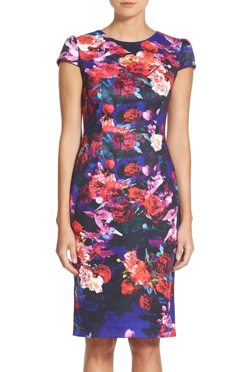 BETSEY JOHNSON Print Stretch Midi Dress, Main, color, 002