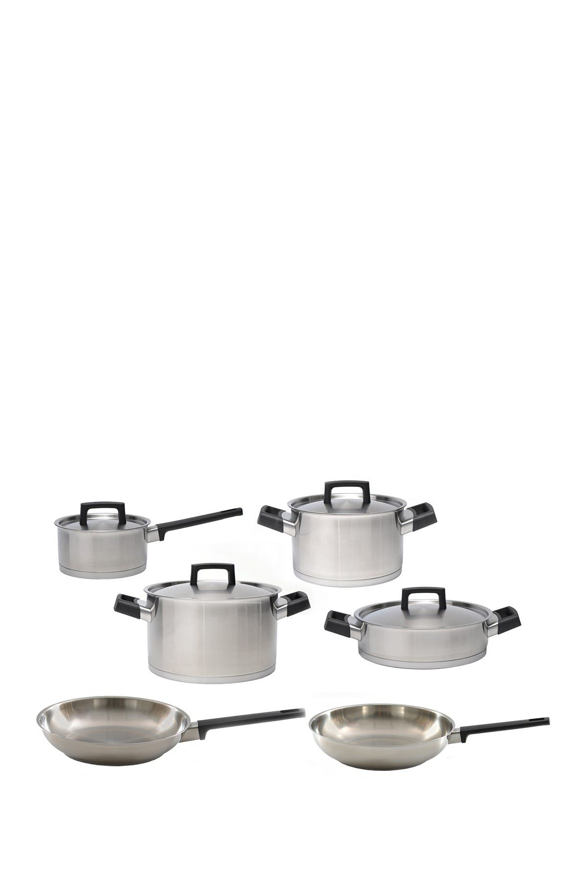Image of BergHOFF Silver/Black 18/10 Stainless Steel 10-Piece Cookware Set