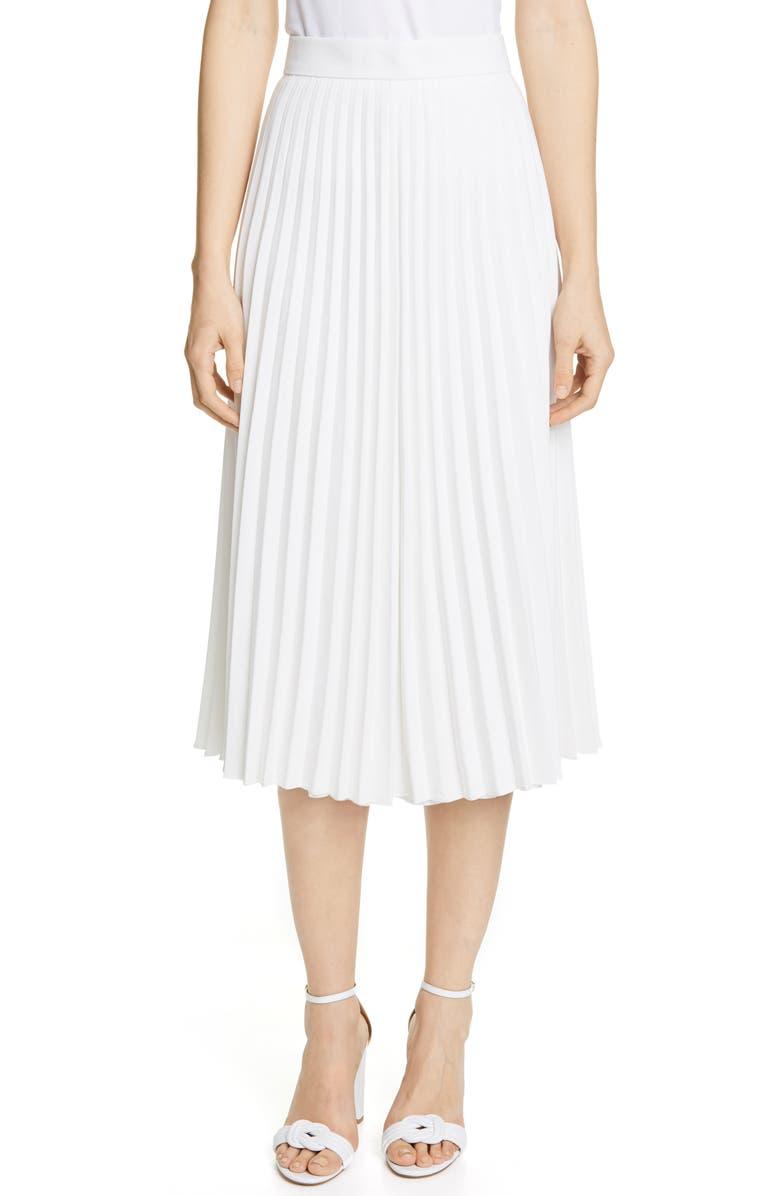 JUDITH & CHARLES Luminism Pleated Midi Skirt, Main, color, OFF-WHITE