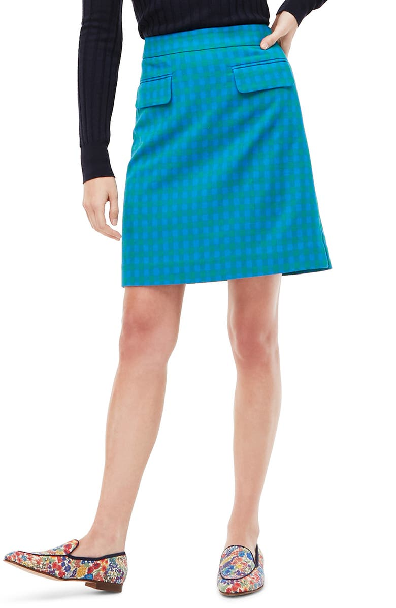 J.CREW Colorful Gingham Front Flap Pocket Skirt, Main, color, 400