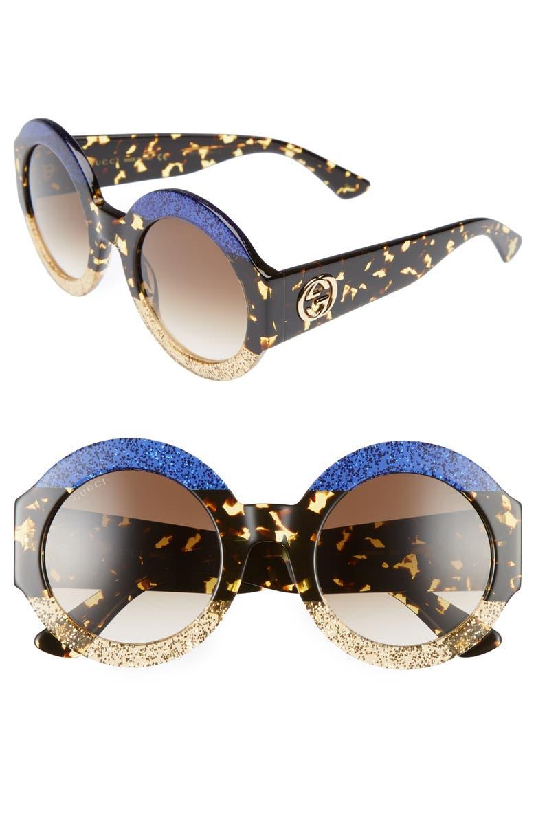 GUCCI 51mm Round Sunglasses, Main, color, 400
