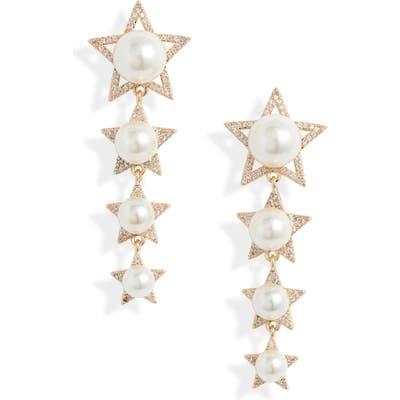 Stella + Ruby Stacked Star Drop Earrings