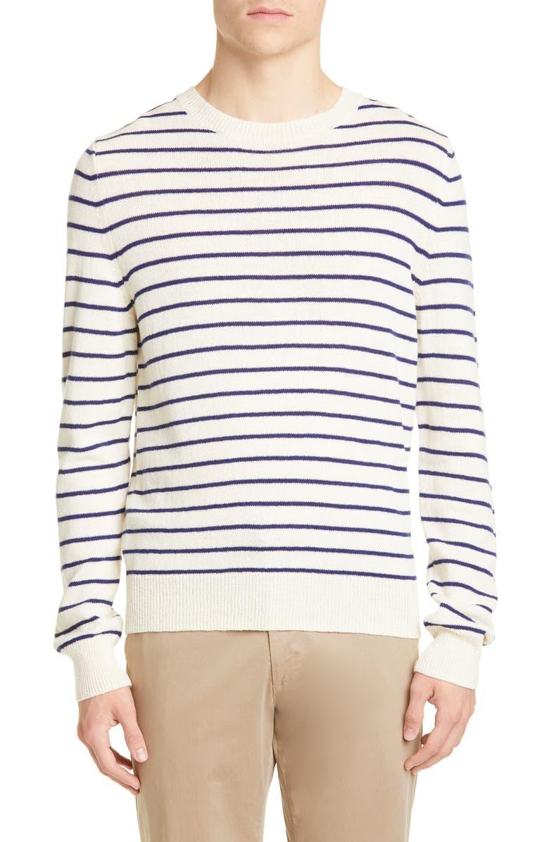 A.P.C. Pull Gaspard Stripe Wool Sweater, Main, color, ECRU