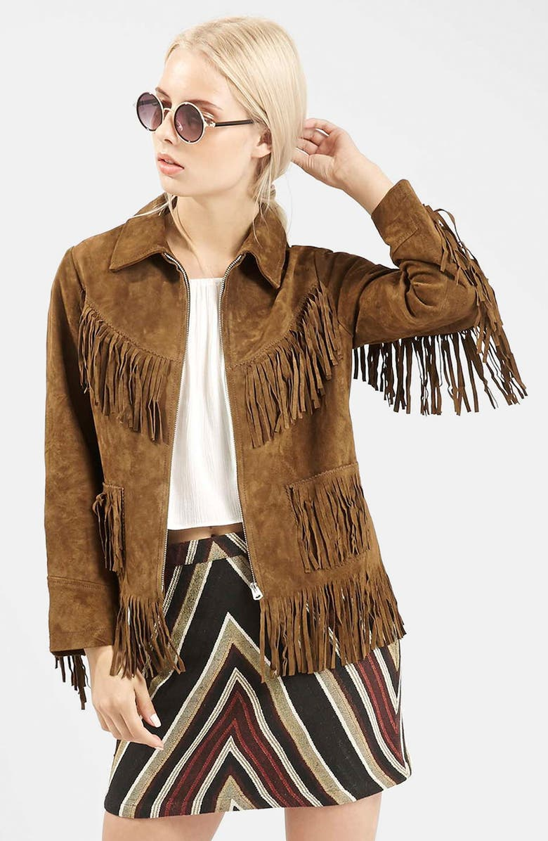 TOPSHOP Suede Fringe Jacket, Main, color, 210