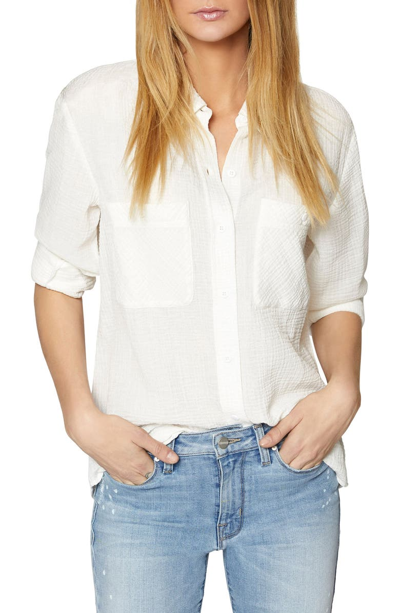 SANCTUARY Steady Boyfriend Roll Tab Shirt, Main, color, WHITE
