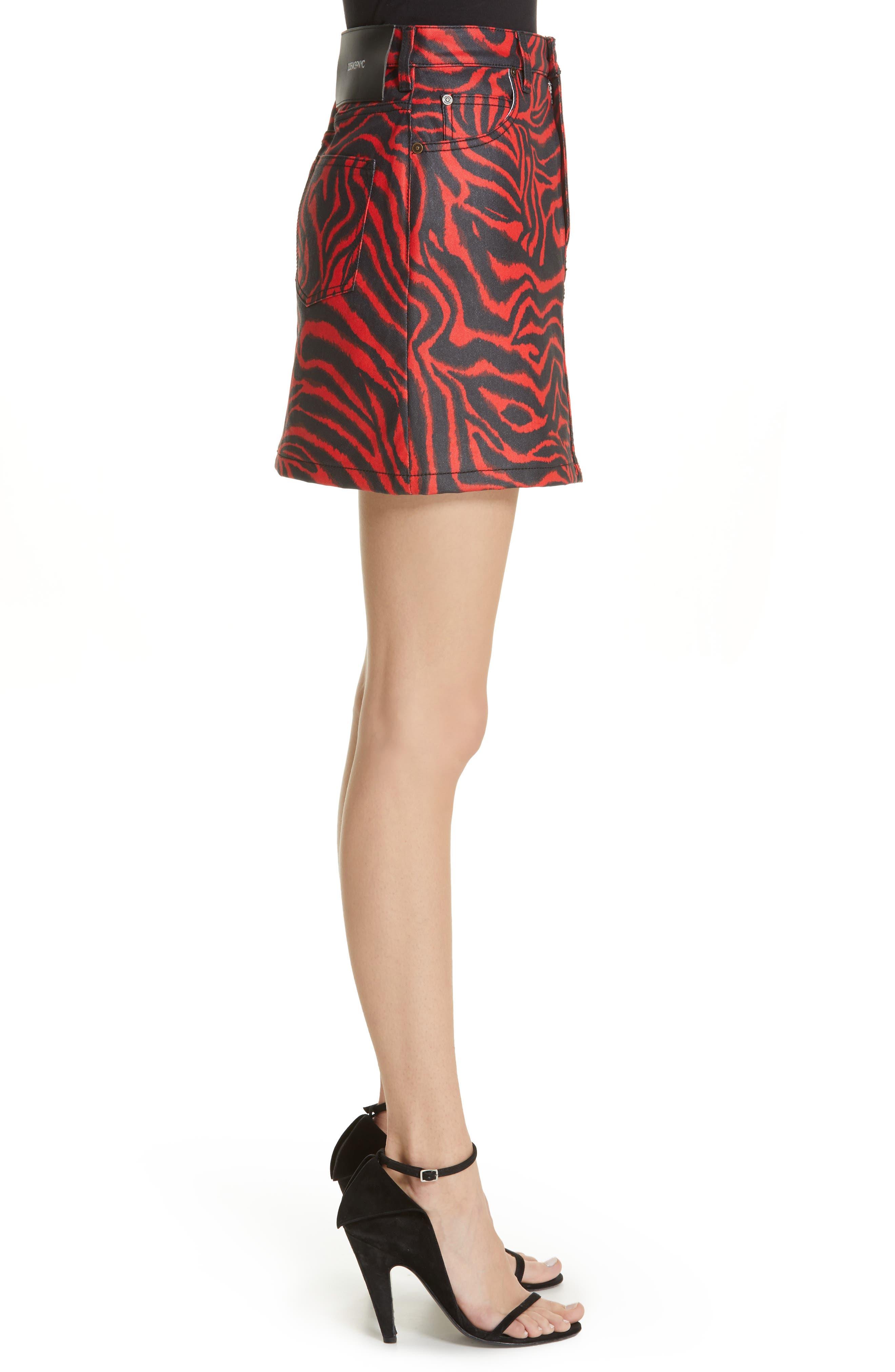 ,                             Zebra Print Denim Skirt,                             Alternate thumbnail 3, color,                             RED ZEBRA