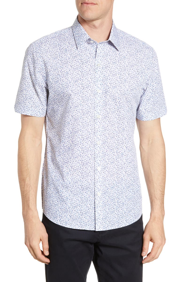 ZACHARY PRELL Wilkins Regular Fit Floral Short Sleeve Button-Up Shirt, Main, color, 400