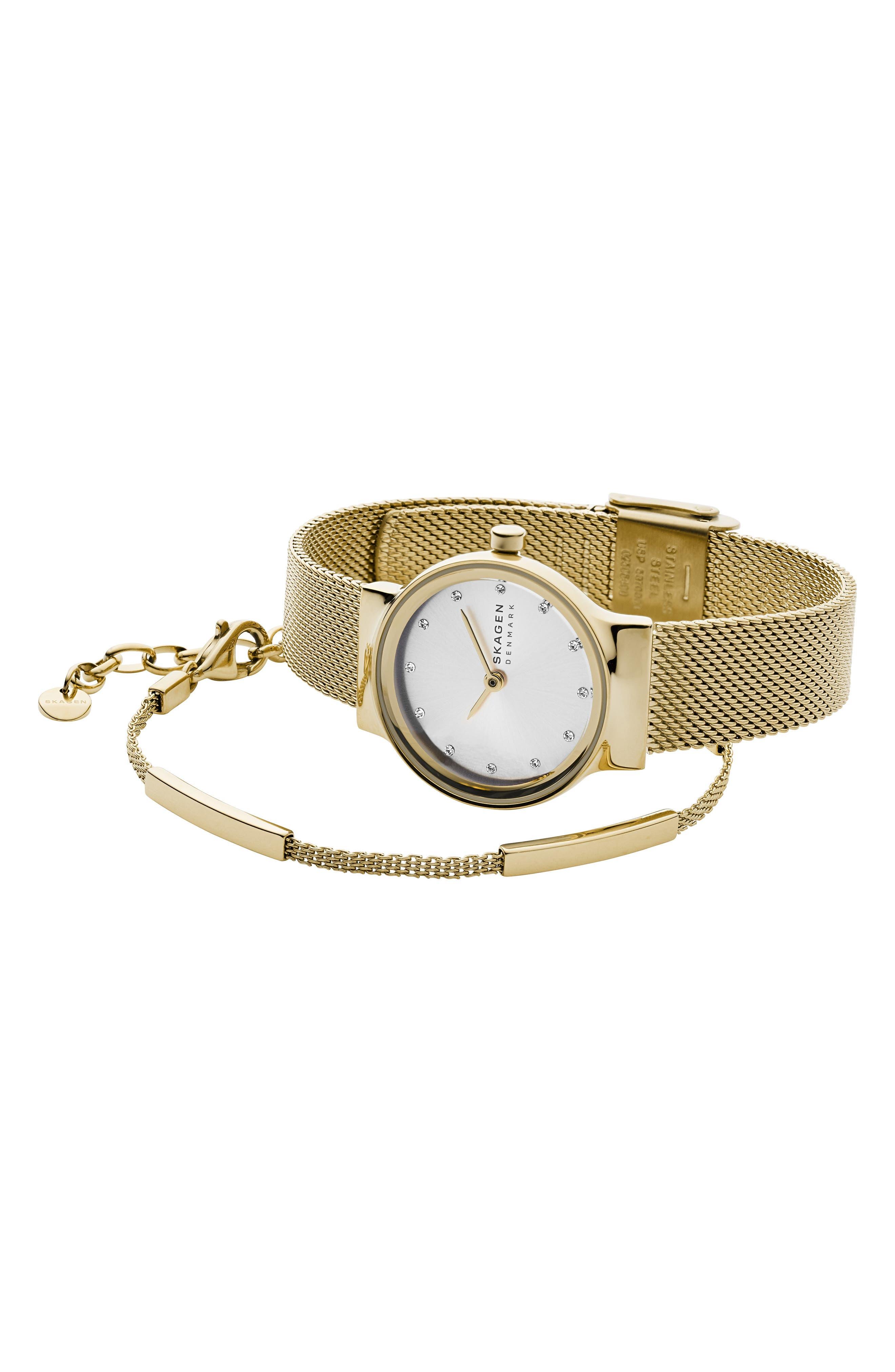 women's skagen freja mesh strap watch & bracelet gift set, 26mm