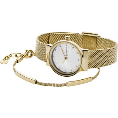 Skagen Freja Mesh Strap Watch & Bracelet Gift Set, 2m
