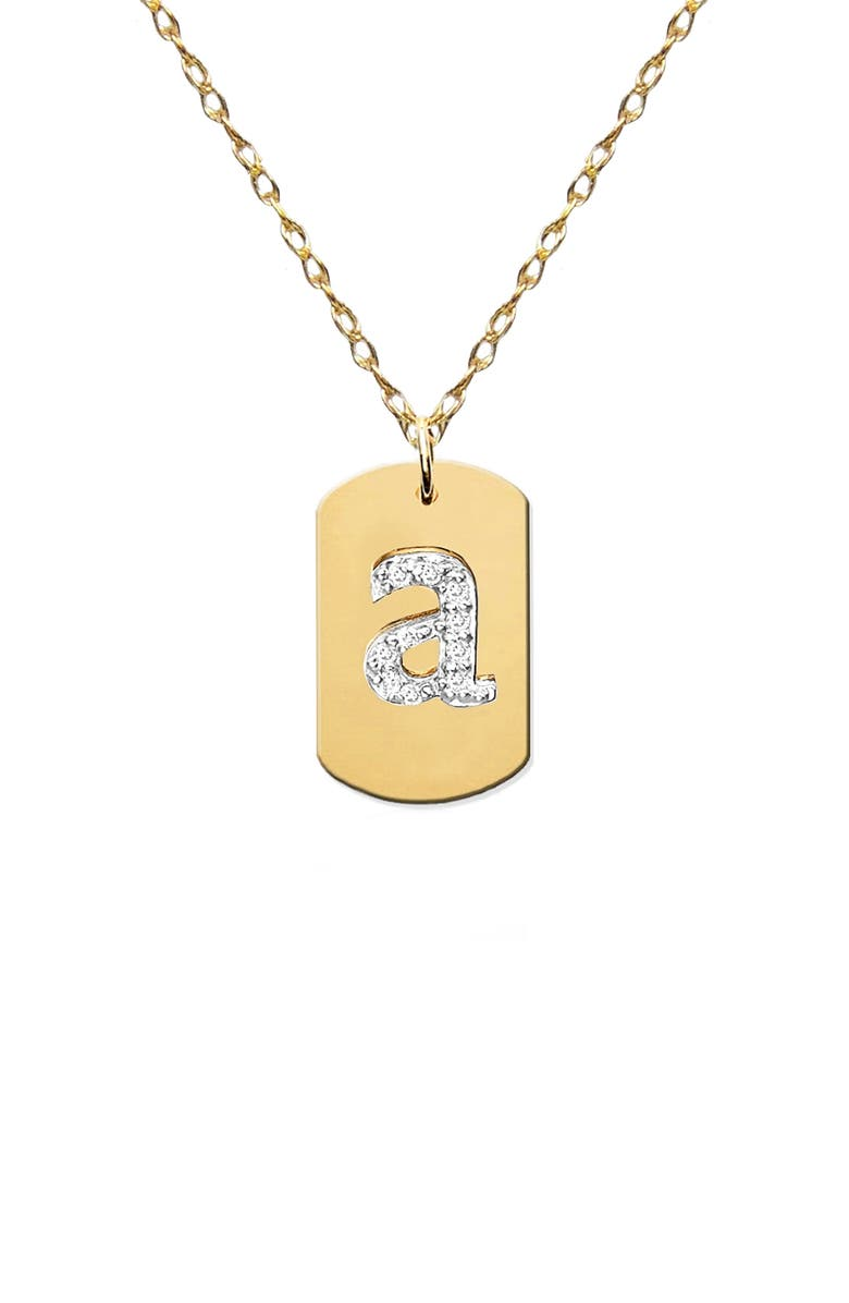 JANE BASCH DESIGNS Diamond Initial Dog Tag Necklace, Main, color, GOLD-A