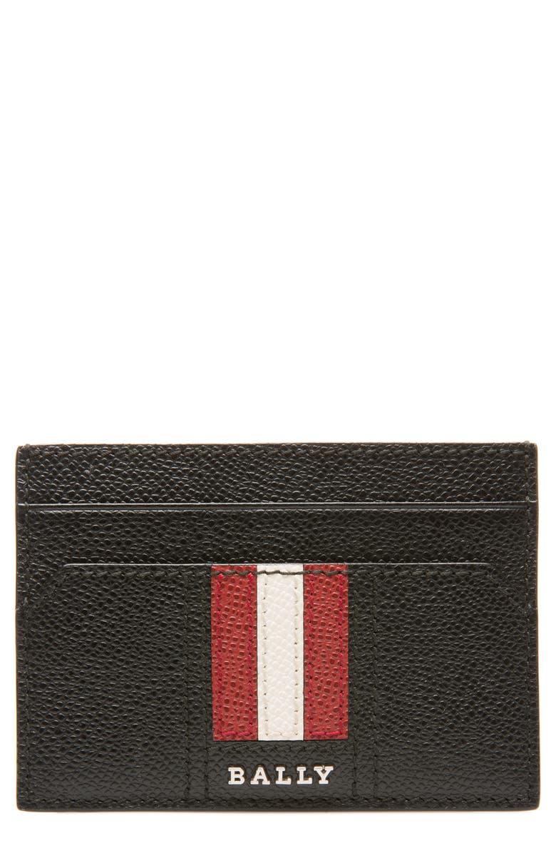 BALLY Taclipos Leather Card Case, Main, color, BLACK