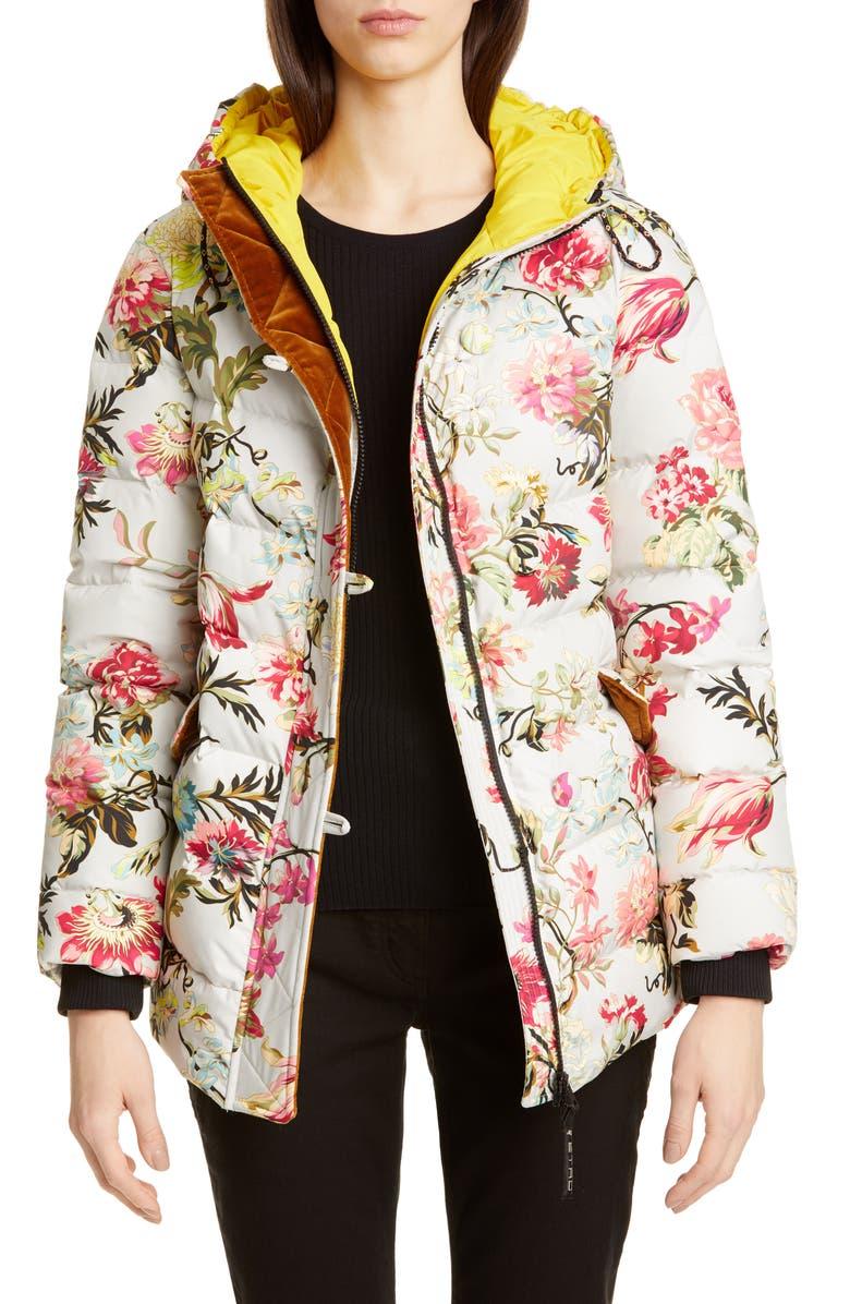 ETRO Floral Print Down Puffer Coat, Main, color, 100