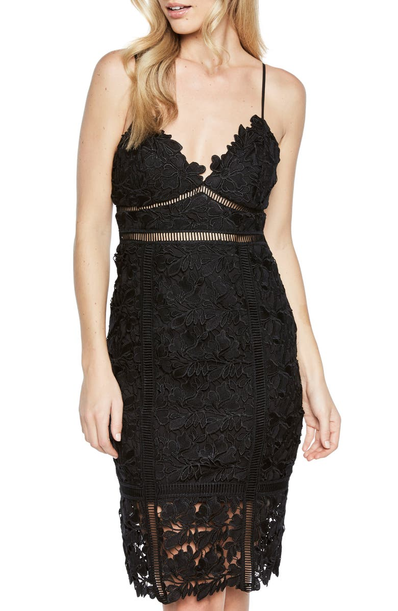 BARDOT Botanica Lace Dress, Main, color, 001