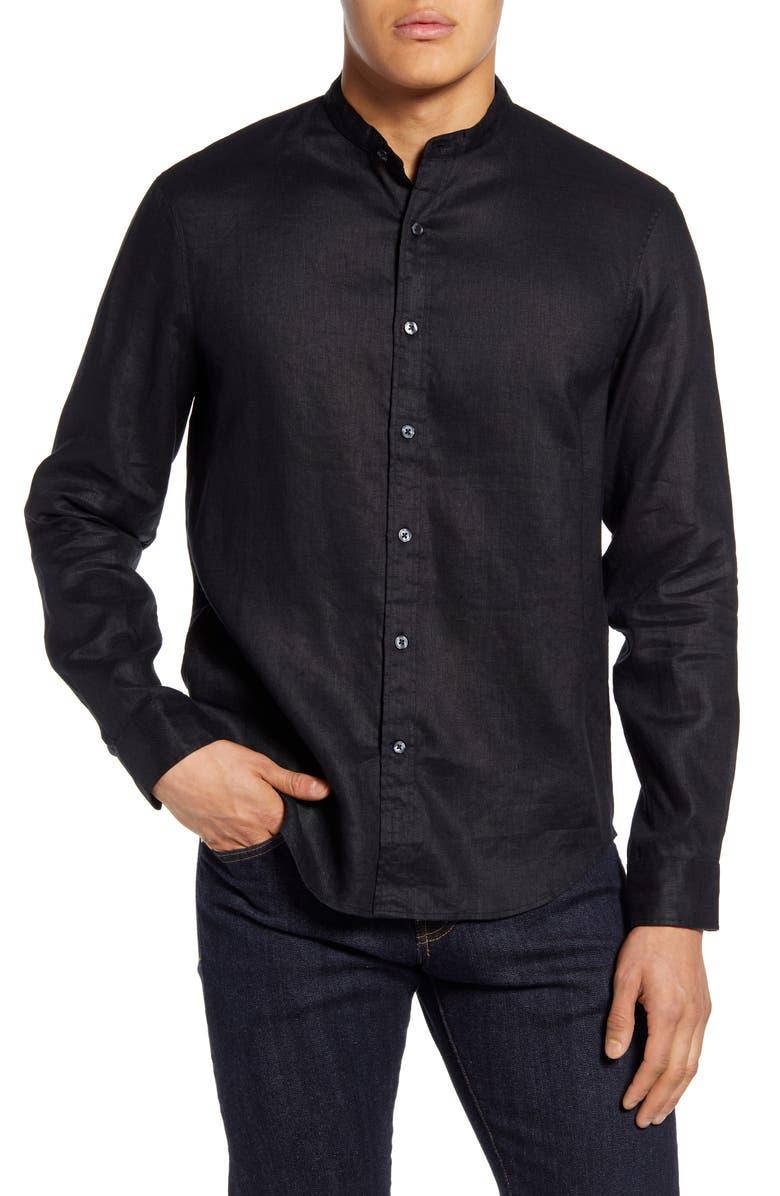 CLUB MONACO Slim Fit Linen Button-Up Shirt, Main, color, 001