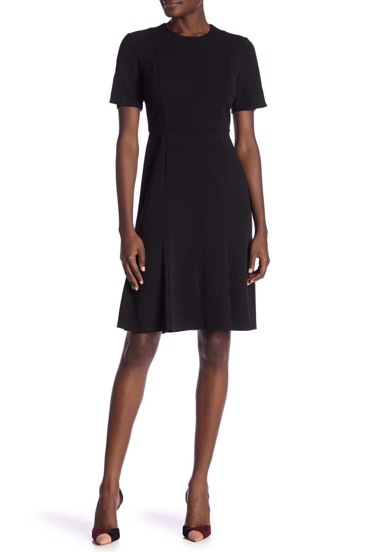 Image of Donna Morgan Short Sleeve Crepe Fit & Flare Dress