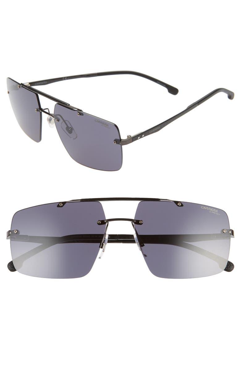 CARRERA EYEWEAR 61mm Aviator Sunglasses, Main, color, BLACK