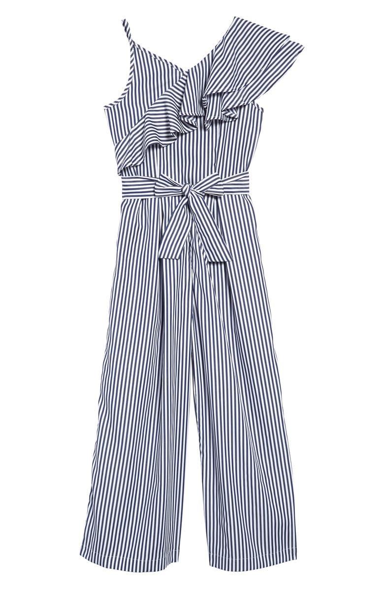 HABITUAL GIRL Stripe Asymmetrical Ruffle Jumpsuit, Main, color, 400
