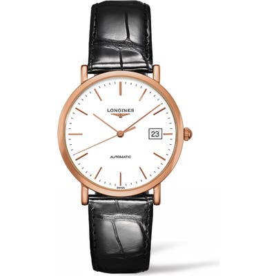 Longines Elegant Automatic Leather Strap Watch, 37Mm