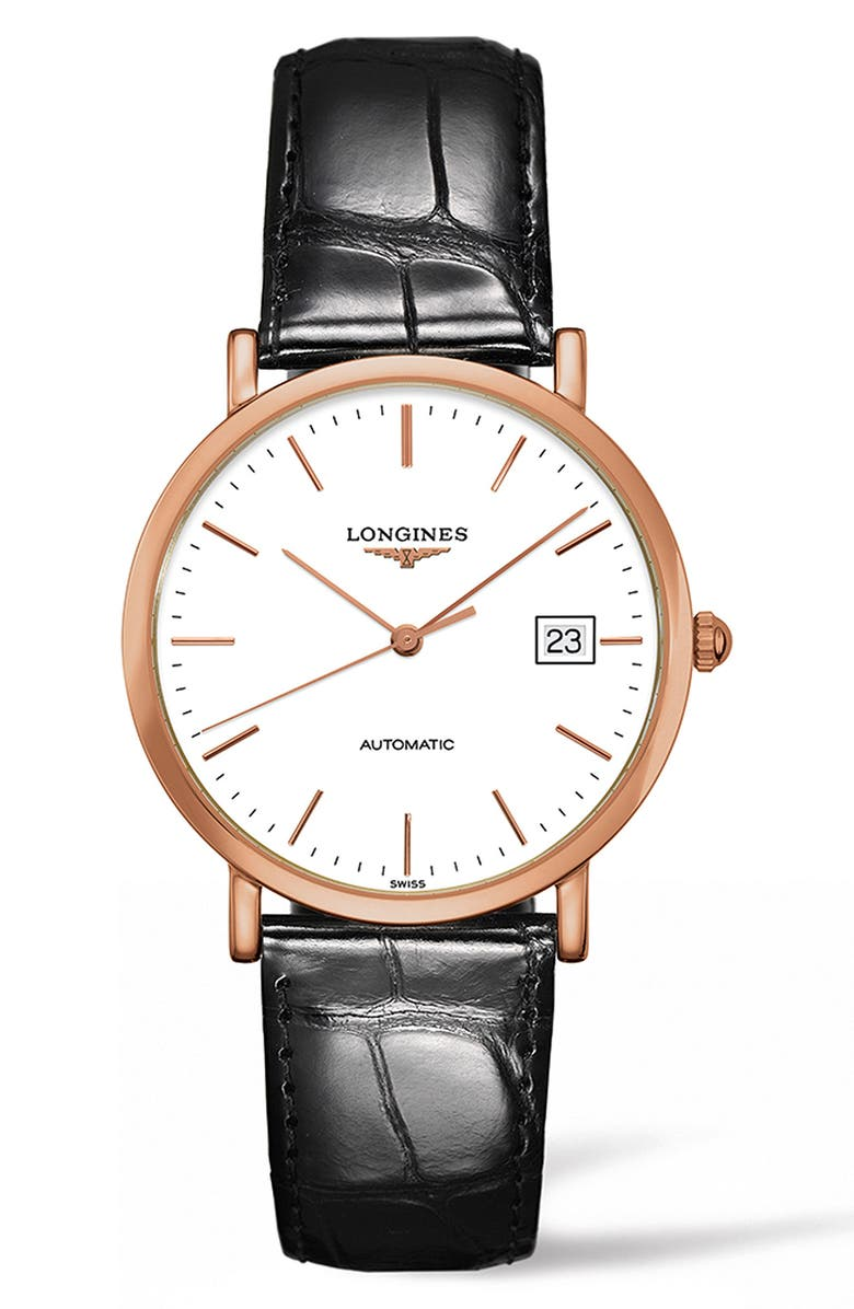LONGINES Elegant Automatic Leather Strap Watch, 37mm, Main, color, BROWN/ WHITE/ ROSE GOLD