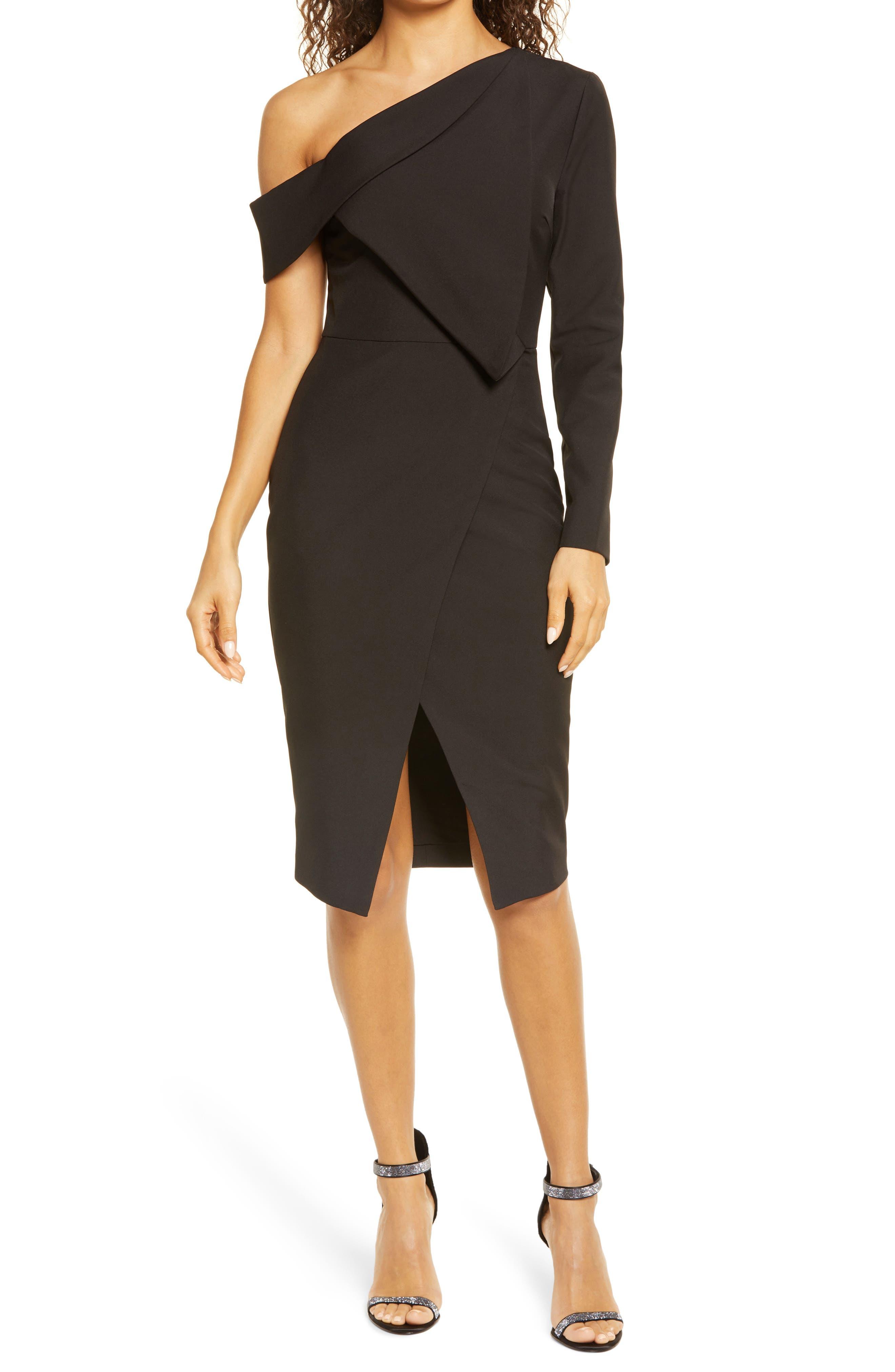 Folded Detail One Shoulder Cocktail Dress