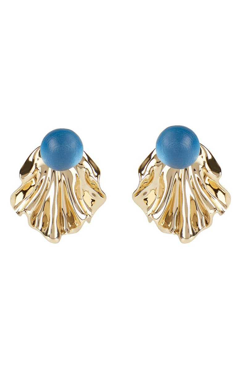 ALEXIS BITTAR Crumpled Metal Ruffle Ear Jackets, Main, color, PACIFIC