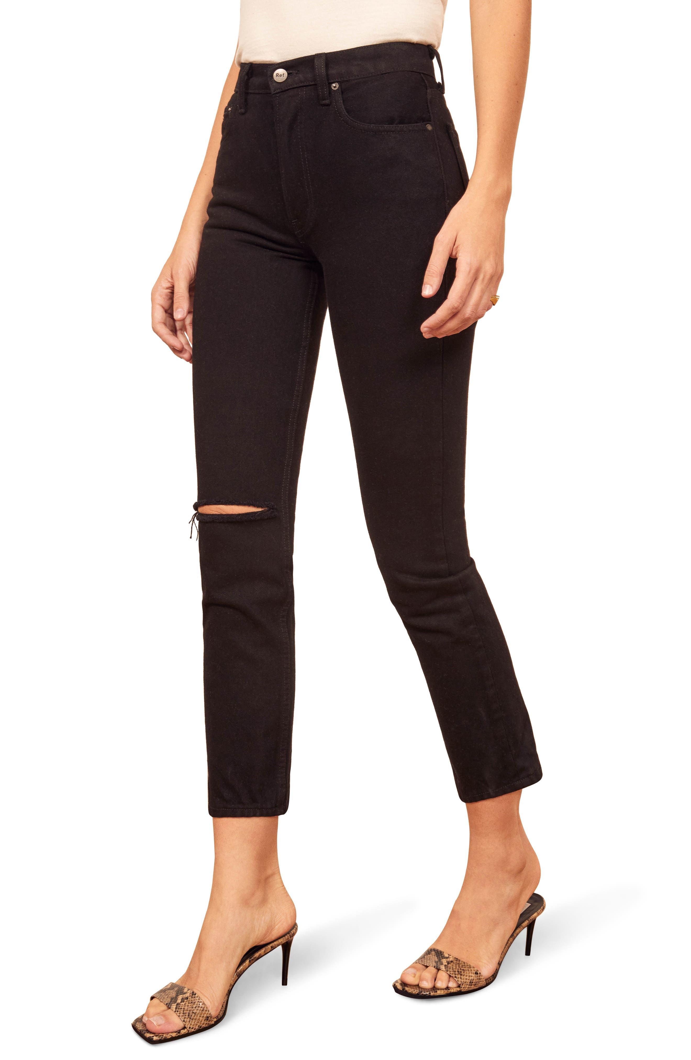 ,                             Julia High Waist Cigarette Jeans,                             Main thumbnail 1, color,                             BLACK DESTROYED