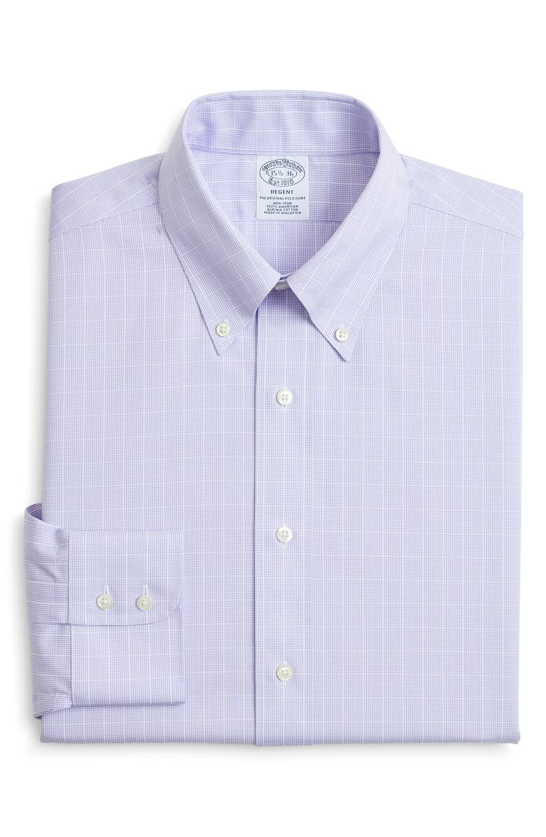 BROOKS BROTHERS Regular Fit Check Dress Shirt, Main, color, PURPLE