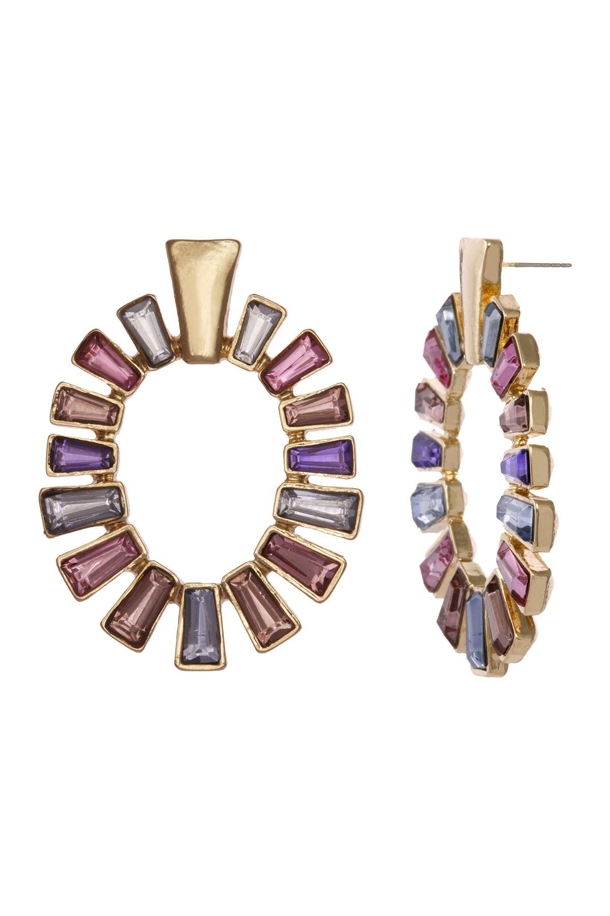 Image of Christian Siriano New York Multi Colored Baguette Stone Circular Drop Earrings