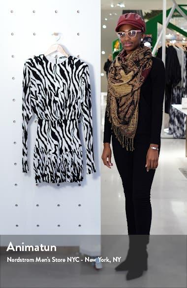 Alina Zebra Print Long Sleeve Minidress, sales video thumbnail