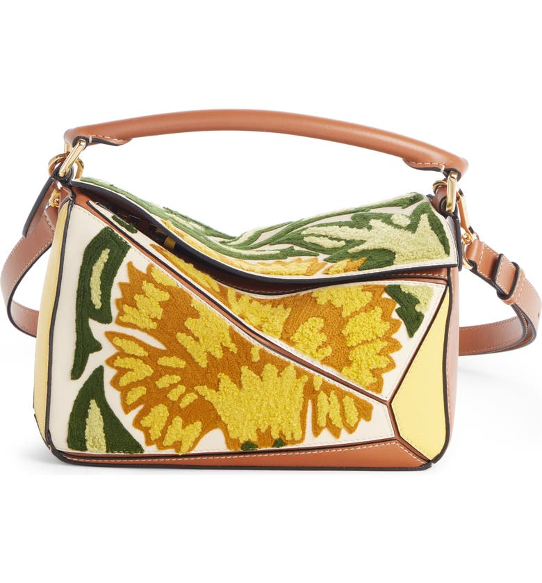 LOEWE Floral Puzzle Leather Bag, Main, color, YELLOW