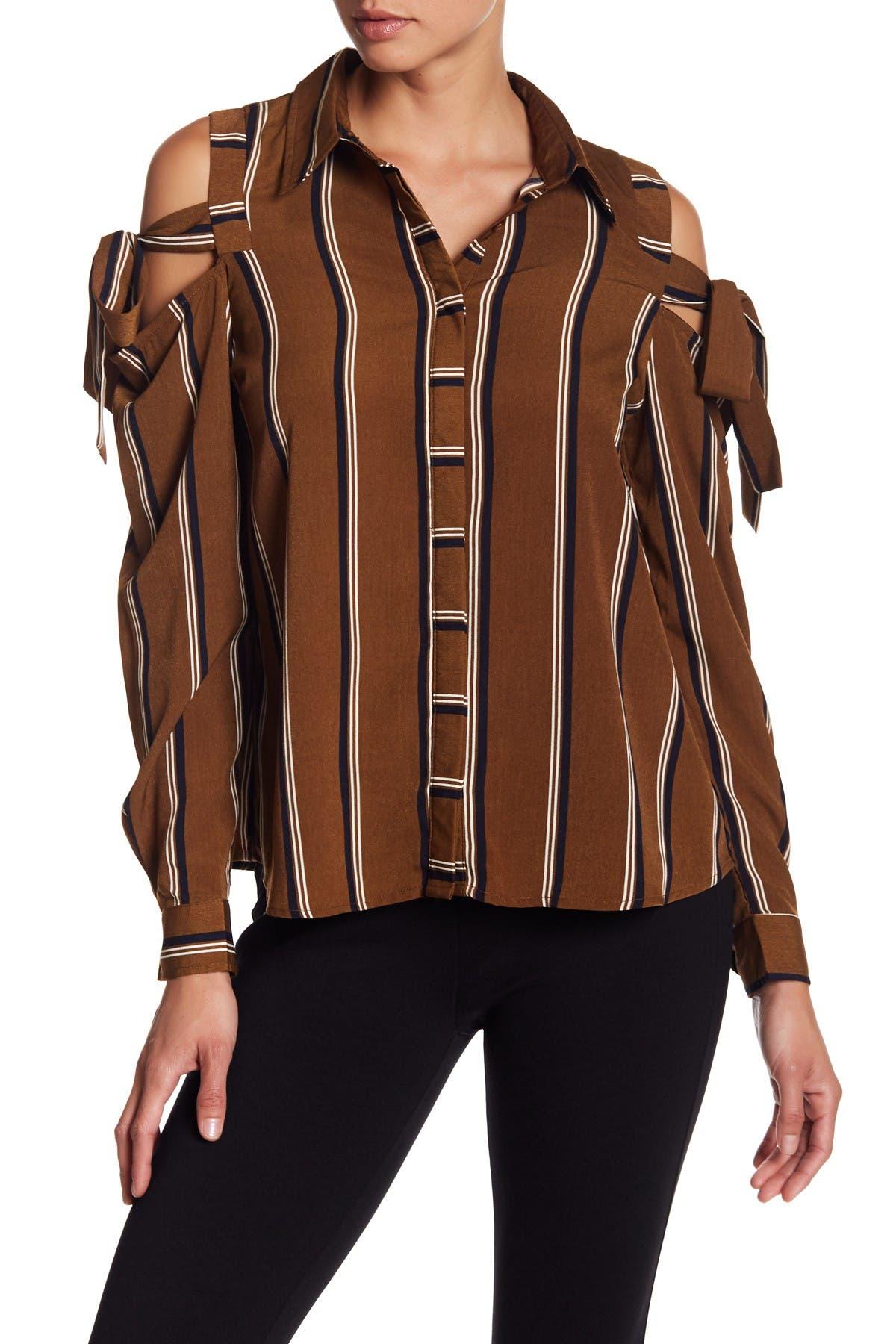 Image of Blu Pepper Cold Shoulder Tie Stripe Shirt