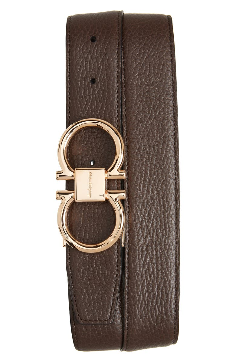 SALVATORE FERRAGAMO Double Gancio Leather Belt, Main, color, HICKORY/ NERO