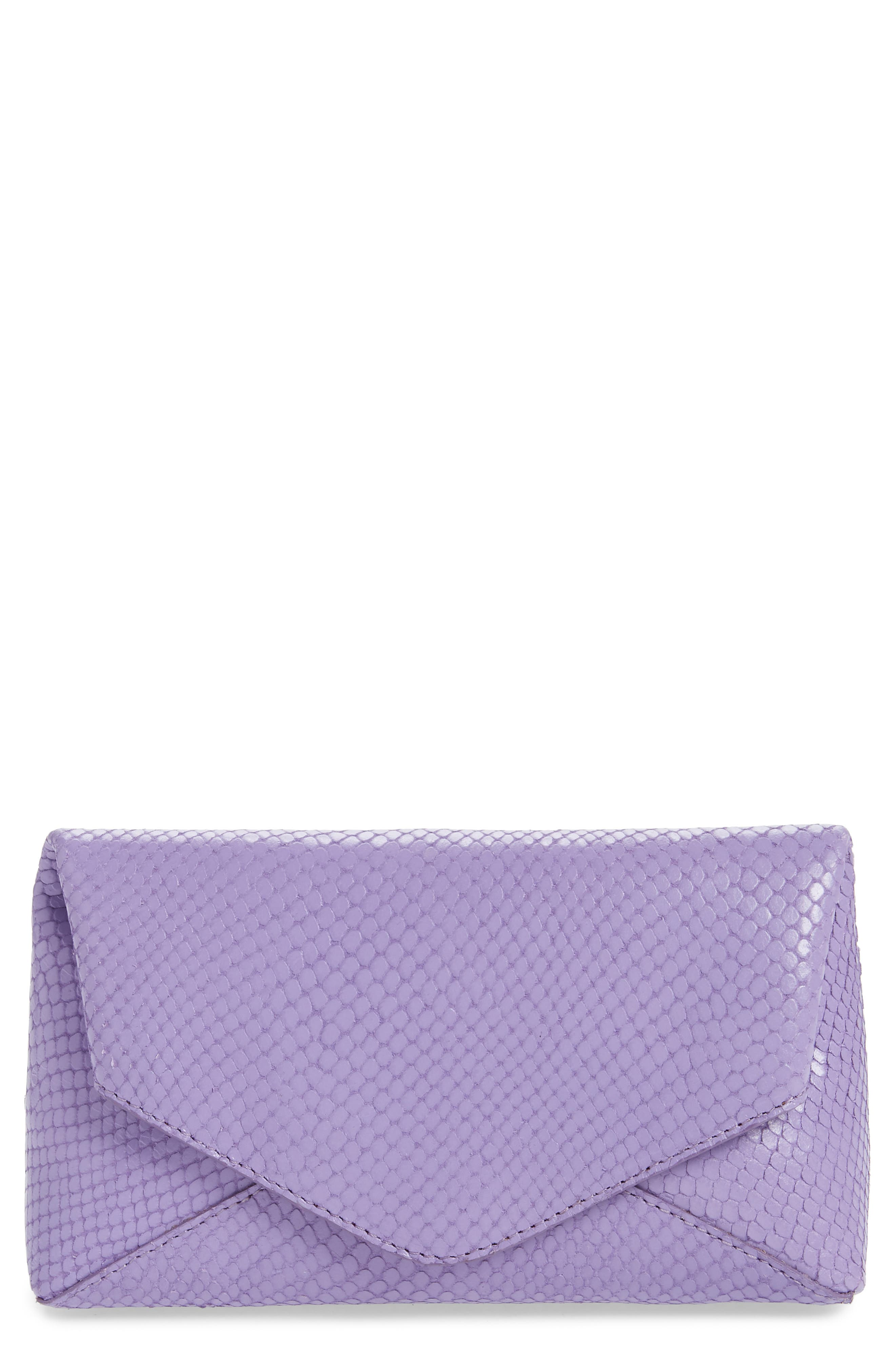 Small Python Embossed Leather Envelope Clutch, Main, color, LILAC