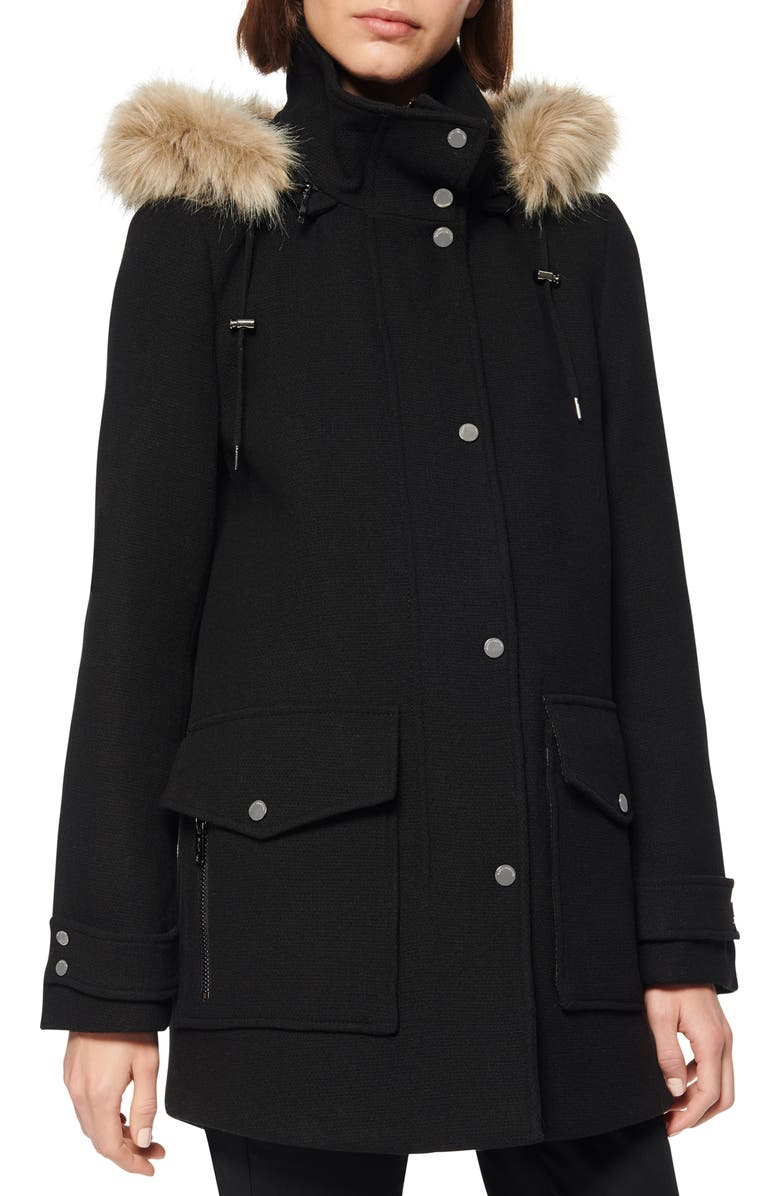 MARC NEW YORK Faux Fur Trim Hooded Duffle Coat, Main, color, BLACK